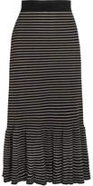 Sonia Rykiel Metallic Striped Cotton-blend Midi Skirt - Black