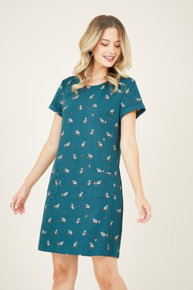 Yumi Green Racoon Tunic Dress