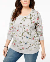 Style&Co. Style & Co Plus Size Cotton Floral-Print French Terry Sweatshirt, Created for Macy's