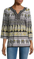 Ruby Rd Embroidered Coast Border Top