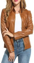 HOTOUCH Womens Soft PU Leather Moto Biker Jacket Bomber Jacket M