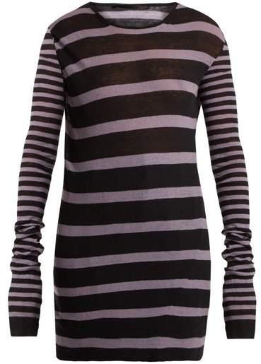 Haider Ackermann Round Neck Striped Cotton Blend Sweater - Womens - Black White
