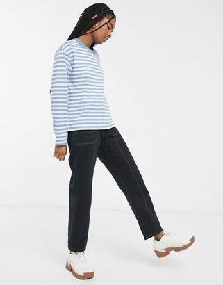 Monki striped long sleeve top in blue and white