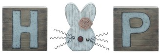 Transpac Wood Brown Easter HOP Metal Accented Word Block Decor