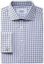 Classic Fit Semi-cutaway Collar Textured Gingham Navy Cotton Formal Shirt Double Cuff Size 15/33 By Charles Tyrwhitt