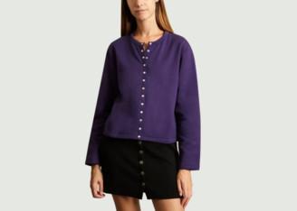 agnès b. Purple Cotton Classic Cardigan - 2   purple   cotton - Purple/Purple