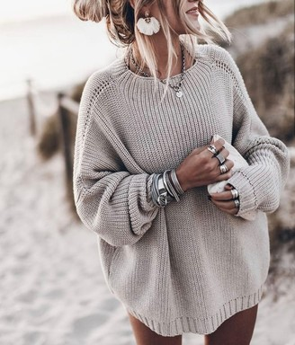THE KNOTTY ONES - Laumes Oversized Chunky Merino Sweater - One size, adult. | merino wool | pearl - Pearl