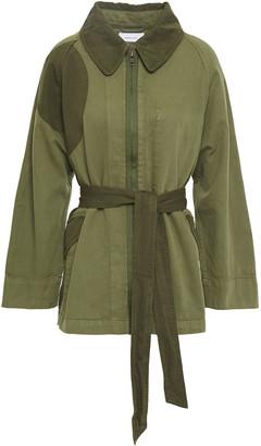 Current/Elliott Two-tone Cotton And Linen-blend Jacket
