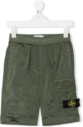 Stone Island Junior Logo Patch Cargo Shorts