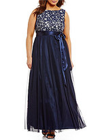 Jessica Howard Plus Lace-Bodice Shirred Ballgown