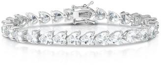 Sphera Milano 14K White Gold Plated Sterling Silver Heart Shaped CZ Tennis Bracelet