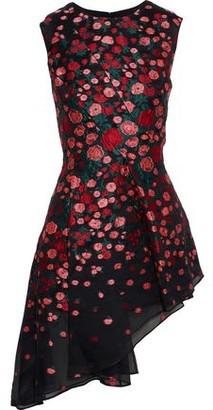 Lela Rose Pleated Silk-blend Floral-jacquard Peplum Top
