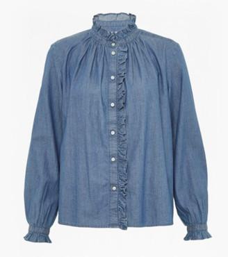 Great Plains Washed Denim Tilly Cotton Ruffle Shirt - XS - 8