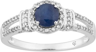 10k White Gold Sapphire & 1/5 Carat Diamond Split Shank Ring