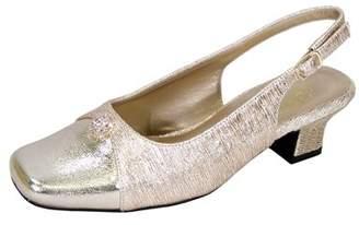 Floral FLORAL Jolie Women Wide Width Elegant Low Heel Dress Slingback Shoes GOLD 11