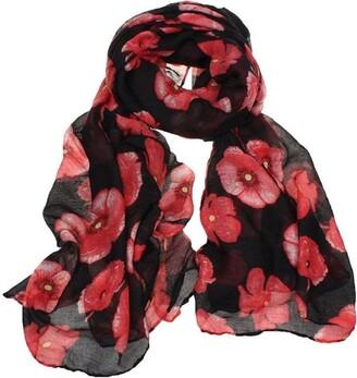 Fabseller Poppy Print Design Women Scarves Shawl Wrap Ladies Fashion Scarf Long Scarf Lightweight Soft Scarf