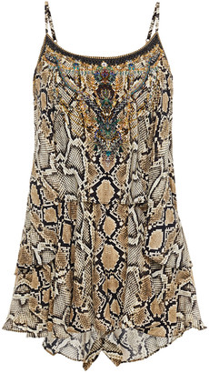 Camilla Layered Crystal-embellished Snake-print Silk Crepe De Chine Playsuit