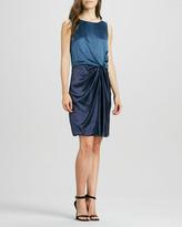Halston Sleeveless Colorblock Draped Dress