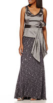BLUE SAGE Blu Sage Taffeta-Bodice Glitter-Lace Skirt Gown