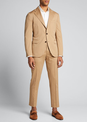 Boglioli Men's Solero Solid Wool-Cotton Two-Piece Suit, Tan
