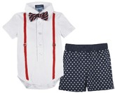 Andy & Evan Infant Boy's Polo Shirtzie Bodysuit, Shorts & Bow Tie Set