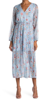 MelloDay Floral Pleated V-Neck Midi Dress