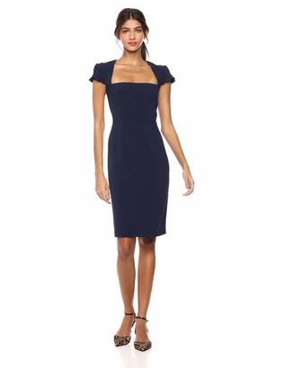 Lark & Ro Women's Pleated Ruffle Detail Cap Sleeve Square Neckline Sheath Dress