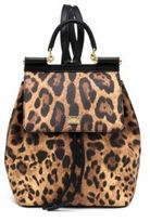 Dolce & Gabbana Sicily Small Leopard-Print Coated Canvas & Leather Backpack