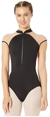Bloch Zip Front Cap Sleeve Leotard (Black) Women's Jumpsuit & Rompers One Piece