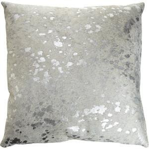 "Pergamino Silver Metallic DS Cowhide Pillow Cover 15""x15"""