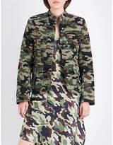 Nili Lotan Ladies Green Embossed Machine washable Camdre Camouflage-Print Stretch-Cotton Jacket