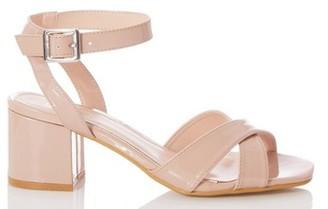 Dorothy Perkins Womens Quiz Nude Patent Block Heel Sandals