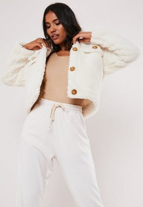 Missguided White Crop Teddy Trucker Jacket