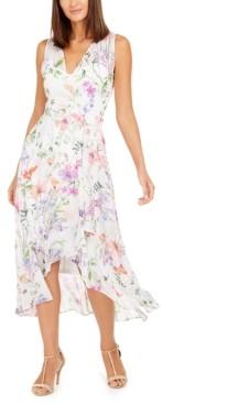 Calvin Klein Surplice Floral-Print Midi Dress