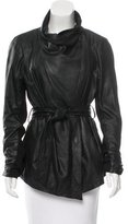 Elie Tahari Leather Belted Jacket