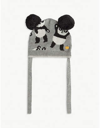 Bonnie Mob Panda pom pom cotton and cashmere-blend hat 0-12 months