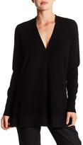 Vince V-Neck Long Sleeve Silk Trim Wool Blend Cardigan