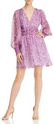 AMUR Indie Paisley-Floral Silk Mini Dress