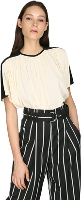 Proenza Schouler Short Sleeved Bicolor Draped Crepe Top