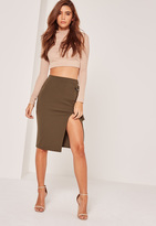 Missguided Split Front D Ring Midi Skirt Khaki