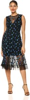 Dress the Population Women's Robyn Sleeveless Lace Illusion Fit & Flare Midi Dress