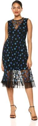 Dress the Population Women's Robyn Sleeveless Lace Illusion Fit & Flare Midi Dress