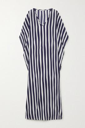 ODYSSEE Beau Draped Striped Chiffon Kaftan - Navy