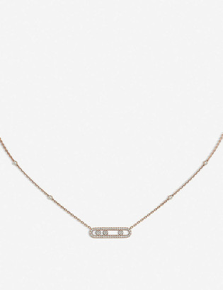 Messika Baby Move Pave 18ct pink-gold and diamond necklace