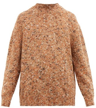 Raey Crew-neck Tweed-effect Wool-blend Sweater - Orange