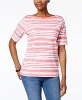 Karen Scott Striped Boat-Neck Top, Created for Macy's