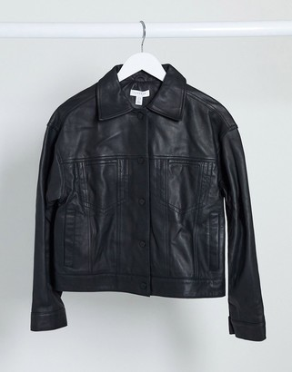 Topshop leather jacket in black