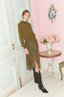 Jovonna London BUDAPEST KHAKI HYBRID DRESS KNIT SWEATER AND CHIFFON TARTAN - S