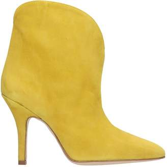 Paris Texas High Heels Ankle Boots In Yellow Suede