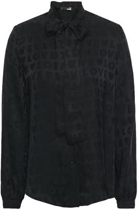 Love Moschino Pussy-bow Satin-jacquard Shirt